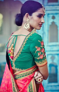 Gorgeous Rama Green and Pink Saree Online