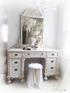 A N T I Q U E Jacobean Vanity Desk Shabby by smallVintageAffair