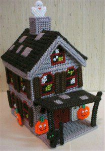 halloween plastic canvas | Halloween Time Haunted House