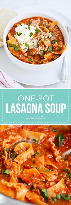 Easy lasagna soup recipe -has all the delicious flavors of homemade lasagna without all the work! The perfect weeknight dinner.