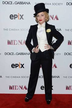Madonna wearing Dolce & Gabbana to the Dolce and The Cinema Society screening of 'Madonna: The MDNA Tour' in #New #York