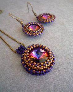 Violet Bronze Rivoli Swarovski Necklace and Earring Set by ByElir, € ...