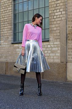 Get this look: http://lb.nu/look/8513011 More looks by Isabella Pozzi: http://lb.nu/stylespectra Items in this look: Dresslily Silver Pleated Skirt #chic #elegant #romantic #silver #silverpleated #guccibag #dresslily #streetstyle #outfit