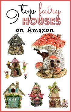 Top 9 fairy garden houses that you can order today from Amazon to accessorize your fairy garden or miniature garden. #miniaturefairygardens