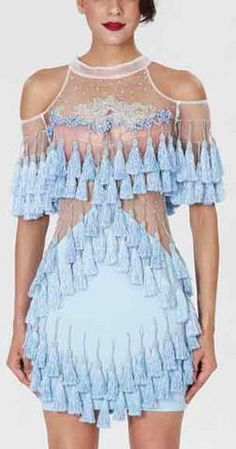 'Abigail' Fringe & Bead Embellished Dress-Light Blue