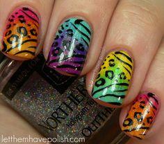multi-colored animal print nails