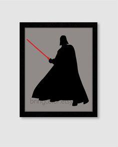 Star Wars Darth Vader Silhouette Wall Art Print 8X10 for boys room