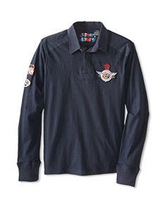 Desigual Men's Marcos Long Sleeve Polo (Marine)