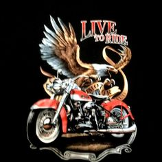 Live To Ride printed with motor bike on  black cotton short sleeve T-shirt