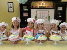 Cake party. Decorate aprons, make cupcake liner flowers for hat and decorate cakes. My girls would love this.