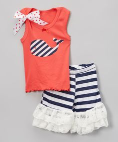 Look what I found on #zulily! Navy Stripe Whale Tank & Ruffle Shorts - Infant, Toddler & Girls by Beary Basics #zulilyfinds