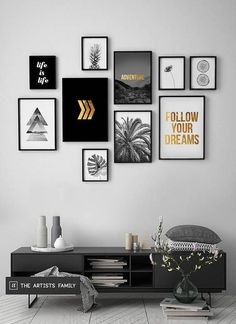 Prints Set of 10 Minimalist Minimal Pineapple Boho Art Walls Gold Monstera Slices Botanical Flower Triangle Arrows Black White - Living Room Designs, Living Room Decor, Bedroom Decor, Decor Room, Home Decor, Living Rooms, Ikea Bedroom, Bedroom Wall, Bedroom Furniture
