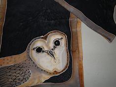Womens Vintage Silk Hand Painted Barn Owl Scarf Mother by BathoryZ