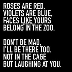 Roses are red, violets are blue. faces like yours belong in the zoo. Don't be mad, I'll be there too not in the cage but laughing at you. Haaaa!! too funny.