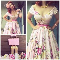 What better way to look and feel beautiful than putting on pin up bathing suits that makes you come alive. 50s Dresses, Pretty Dresses, Vintage Dresses, Vintage Outfits, Retro Outfits 1950s, Rockabilly Fashion, 1950s Fashion, Vintage Fashion, Rockabilly Girls
