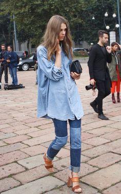 Denim on denim with a pair of brown heels