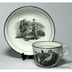 New Hall Bat Printed Cup & Saucer Pattern 1053  c1800, New Hall started to use stipple engraving applied with glue-bats. This enabled them to put multiple designs onto a single tea service at a fraction of hand painted services. These typically feature scenes from mythology and classical literature. There is a third category featuring mothers with children that are highly sought by collectors. These are either copied from or were engraved by Adam Buck.