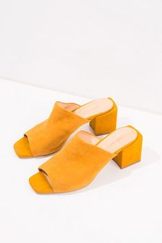 30 Heels You Can Actually Walk In #refinery29  http://www.refinery29.com/comfortable-heels#slide-19  A low-heeled mule will never do you wrong.Front Row Shop Yellow Mules, $92, available at Front Row Shop. ...