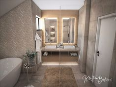Návrh rodinného domu Rodinný dom s wellness, pohľad umývadlá hlavnej kúpeľne Alcove, Bathtub, Bathroom, Standing Bath, Bath Room, Bath Tub, Bathrooms, Bathtubs, Bath