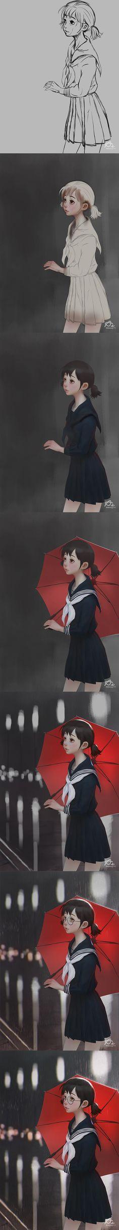 Red Umbrella By webang111 #webang111 #stepbystep #digitalpainting #drawing