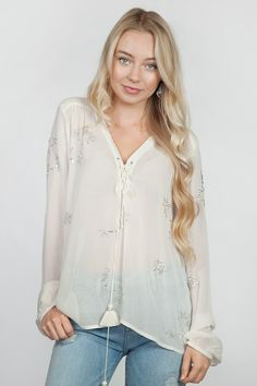 Chan Luu Lace Up Beaded Peasant Blouse in Swan White
