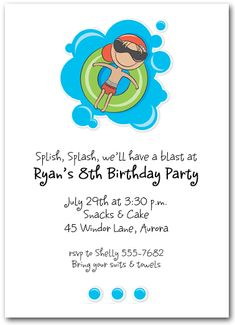 Innertube Boy Swim Party Invitations features a boy floating on an innertube enjoying the water. Great for boy's birthday party invitations, swim party invitations or beach party invitations. Actual Size: x Pool Party Birthday Invitations, Birthday Party Invitation Wording, Invitation Ideas, Invites, Invitation Templates, Swim Birthday Parties, Pool Party Kids, 24 Birthday, Kid Pool