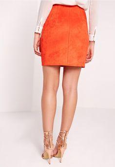 Faux Suede Mini Skirt Orange - Missguided