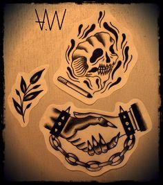 AWA Production Black Trad Tattoos Flashs.