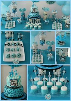 baby boy shower candy bar and cake