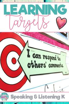 These kindergarten printable Common Core State Standard aligned learning targets are an efficient visual to help your students meet their daily learning objectives in Speaking & Listening. They are written in kid friendly language using 'I can' statements and you can display these templates as a sign on a bulletin board. Click the link to see the learning targets and also the success criteria! #learningtargets #learning #targets #objectives #success