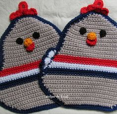 Landleven - Haak zelf deze grappige pannenlap Crochet Kitchen, Crochet Home, Diy Crochet, Crochet Amigurumi Free Patterns, Knitting Patterns Free, Free Knitting, Crochet Furniture, Crochet Chicken, Crochet Potholders