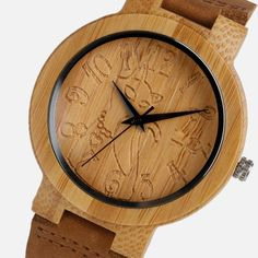 Vintage Wood Watch Women Lovely Cat Casual Nature Bamboo Quartz Wristwatches Simple Creative Genuine Leather Band //Price: $28.49 & FREE Shipping // #fashion #gems #gem #gemstone