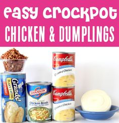 Chicken and Dumplings with Biscuits! Easy crockpot dinners are the perfect solution for busy weeknights, and this one will become a FAST family favorite!! Go grab the recipe and give it a try this week! Chicken And Biscuits Crockpot, Creamy Chicken And Dumplings, Easy Crockpot Chicken, Chicken Recipes, Crockpot Dump Recipes, Slow Cooker Recipes, Cooking Recipes, Dumpling Recipe, Crock Pot Cooking