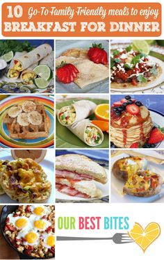 "Save this pin for one of those ""What's for dinner?"" nights.  Breakfast for dinner is everyone's favorite!  Here are 10 Go-To Recipes for Family Friendly Breakfast for Dinner Meals!"