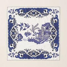 Classic Blue Willow China Design Scarf   Zazzle.com Blue Willow China, Willow Pattern, China Patterns, Art For Kids, Color Schemes, Art Pieces, Blue And White, Tapestry, Dollhouses