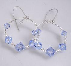 Hoop Earrings Lt Sapphire Swarovski Crystals. $15.00, via Etsy.