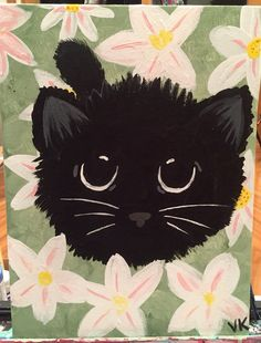 "$10 black kitten in a fields of daisies acrylic painting 14x9"" canvas panel"