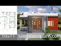 House design 10x11 with 3 Bedrooms Hip RoofThe House has:-Car Parking and garden-Living room,-Dining room-Kitchen-3 Bedrooms, 2 bathroom