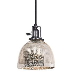 Ribbed Dome Mercury Glass Shade Pendant Light - 3 Finishes $149 Shades of Light