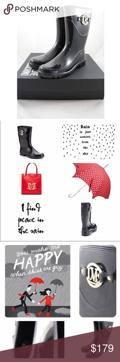"""Love Moschino Glossy Rain Boots ~ Rain or shine, you'll be looking fine when wearing these Love Moschino Glossy Rain Boots.   🏷NIB 🏷MSRP: $250.00 🏷Size: 8  ☔️Pull on ☔️Shiny black rubber  ☔️Gold """"LOVE"""" metal medallion on the side  ☔️Comes with box   ☀️Chunky Heel: Approx. 1"""" ☀️Shaft: Approx. 11"""" ☀️Width: Regular (M,B)   PRICE is currently FIRM Love Moschino Shoes Winter & Rain Boots"""
