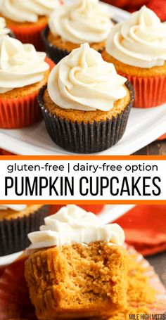 Pumpkin Cupcakes gluten-free dairy-free option Pumpkin Cupcakes gluten-free dairy-free option Mile High Mitts Gluten-free Recipes milehighmitts Best of Mile High Mitts Easy from scratch nbsp hellip Cupcake gluten free Dessert Party, Party Desserts, Dairy Free Pumpkin Recipes, Gluten Free Deserts, Dairy Free Halloween Recipes, Vegan Pumpkin, Thanksgiving Desserts, Fall Desserts, Gluten Free Thanksgiving