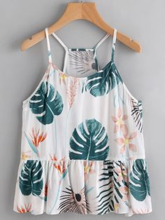 SheIn offers Tropical Print Ruffle Hem Cami Top & more to fit your fashionable needs. Cute Casual Outfits, Pretty Outfits, Summer Outfits, Girl Outfits, Fashion Outfits, Fashion Trends, Tropical Fashion, Girl Fashion, Fashion Design