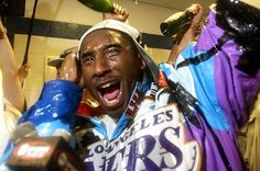 Lakers star Kobe Bryant celebrates in the locker room after the team's 2002 NBA Championship win over the New Jersey Nets. Nba Championships, Basketball Coach, High Jump, Black Mamba, Kobe Bryant, Hypebeast, Finals, Athlete, Seasons