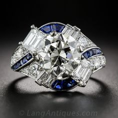 Raymond Yard 3.08 Carat Diamond and Sapphire Ring