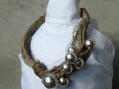 Elegant-Silver-Linen-Necklace. $70.00, via Etsy.