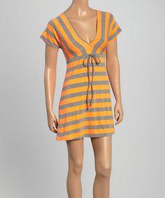 Orange Stripe Tie-Waist V-Neck Dress #zulily #zulilyfinds