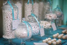 Tiffany Blue with white candy. Love this idea! So easy to do with white candy and blue ribbon.