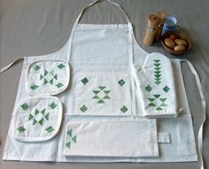Green Boho Kitchen Apron FREE-Shipping Tribal Nomadic by Yaansoon