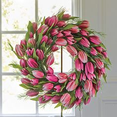 Buy Pink Tulip Wreath online at Gump's