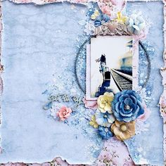 A monthly kit club that specializes in shabby chic, elegant, romantic kits. Scrapbooking Layouts, Scrapbook Pages, Journal Diary, Layout Inspiration, Mixed Media Art, Altered Art, Floral Wreath, Sketches, Diy Projects